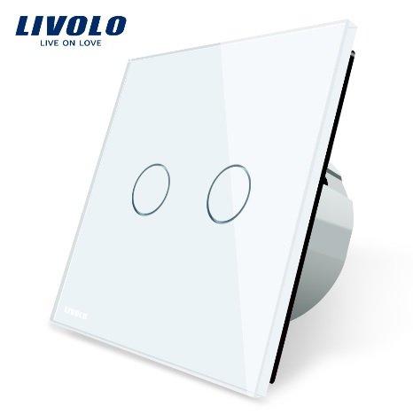 Livolo divpolu skārienjutīgais slēdzis - aizkaru vadībai, attālināti vadāms (REMOTE), balts