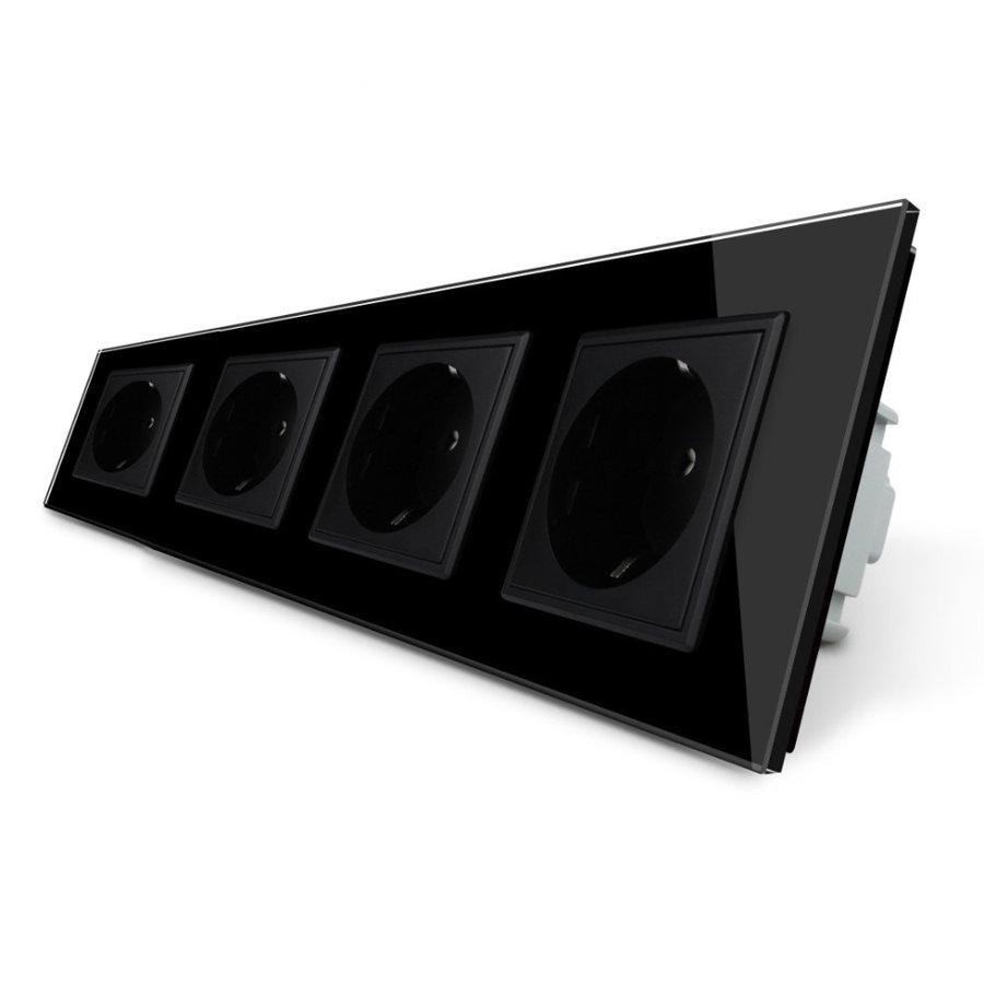 Livolo melns četrvietīgs stikla kontaktligzdas rāmis 293 x 80mm GPF-4-62, 4 melnas kontaktligzdas WG-71EU-62