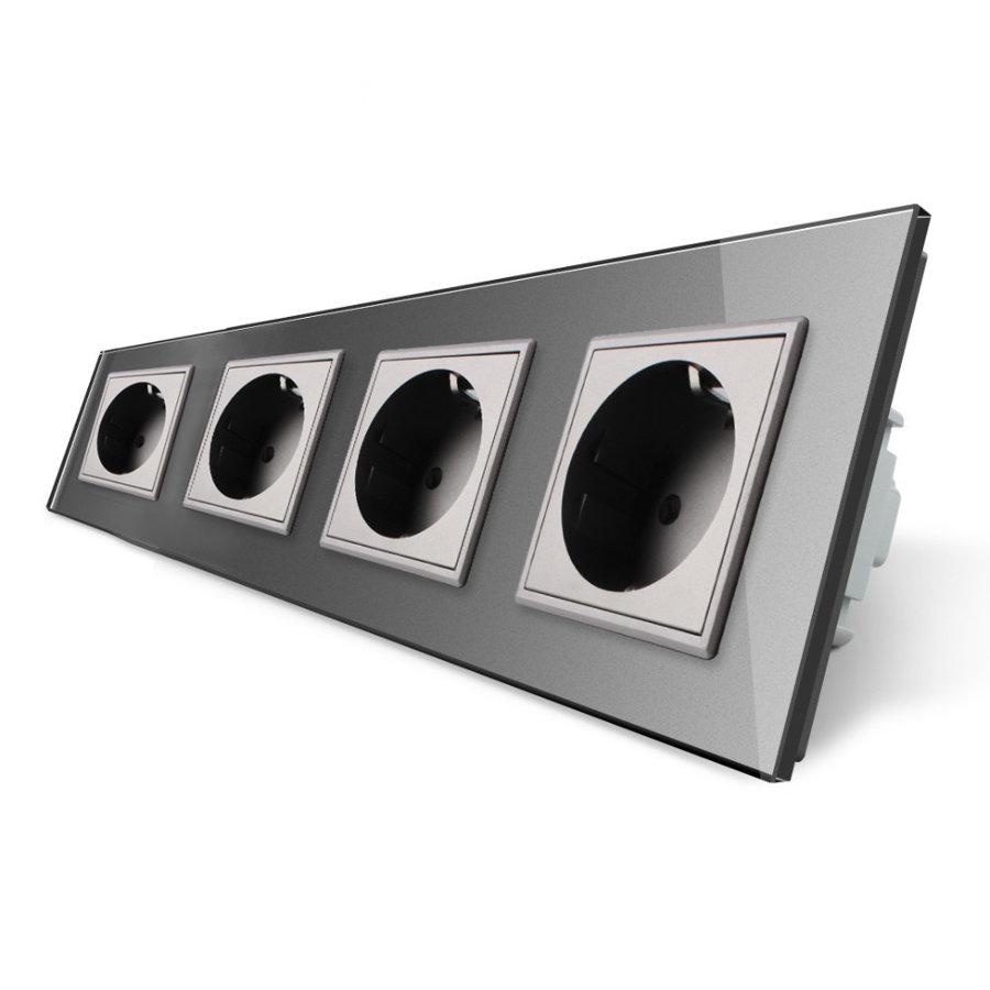 Livolo pelēks četrvietīgs stikla kontaktligzdas rāmis 293 x 80mm GPF-4-64, 4 pelēkas kontaktligzdas WG-71EU-64