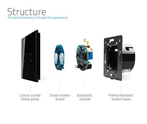 Сенсорный импульсный выключатель Livolo двухлинейный, 1 модуль - черный