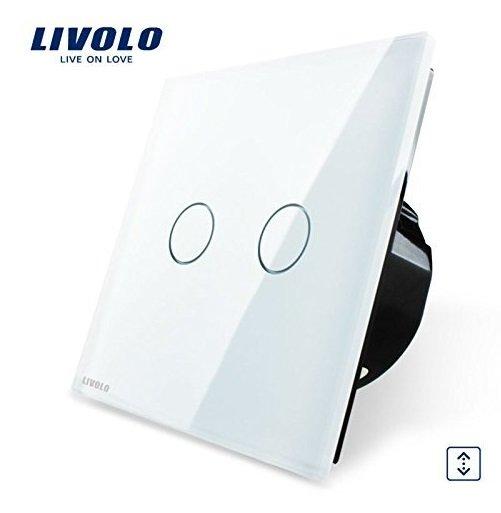 Сенсорный импульсный выключатель Livolo двухлинейный, 1 модуль - белый