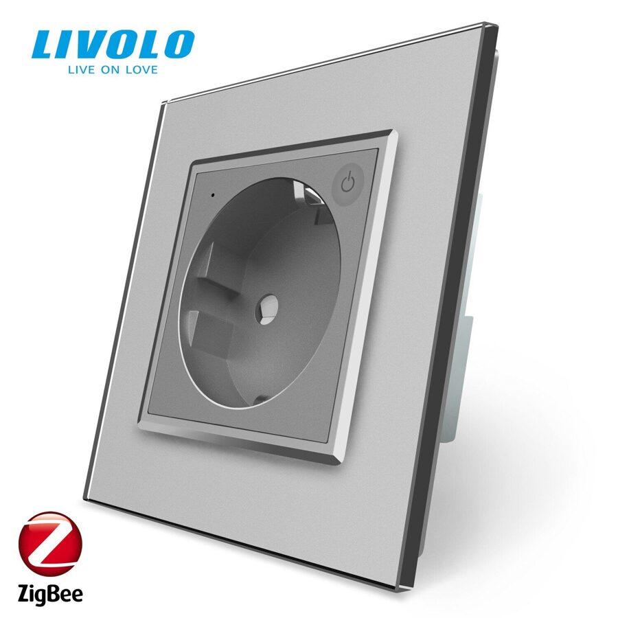 Livolo viedā elektrības kontaktligzda Pelēka (Zigbee)