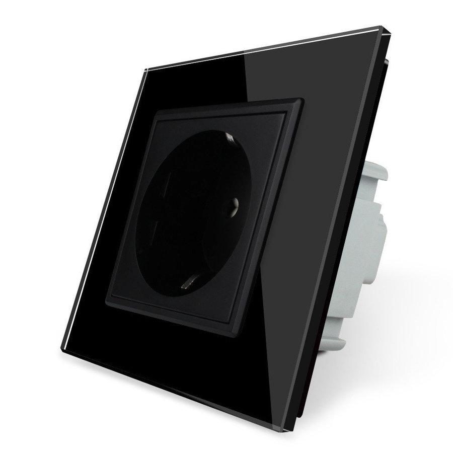 Livolo elektrības kontaktligzda melna 16A - 80mm ar melnu paneli
