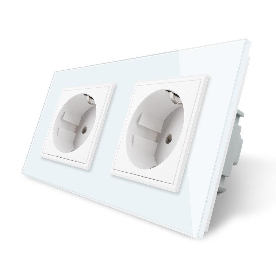 Livolo balts divvietīgs stikla kontaktligzdas rāmis 150 x 80mm GPF-2-61, 2 baltas kontaktligzdas WG-71EU-61