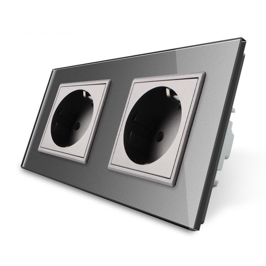 Livolo pelēks divvietīgs stikla kontaktligzdas rāmis 150 x 80mm GPF-2-64, 2 pelēkas kontaktligzdas WG-71EU-64