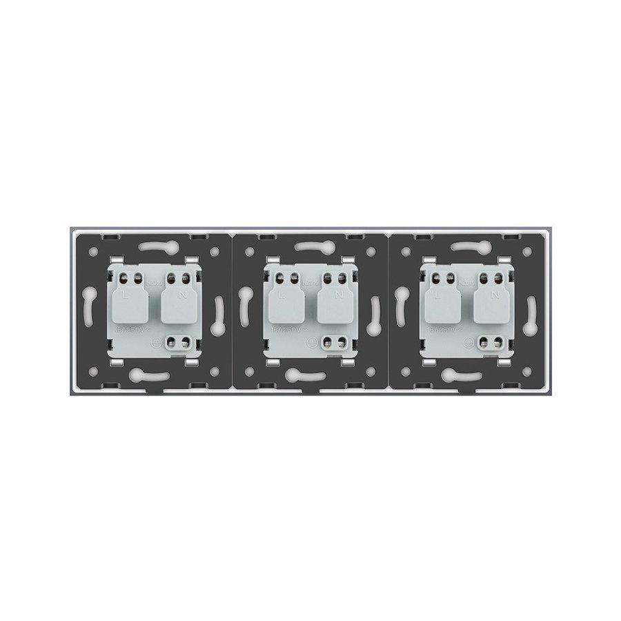 Livolo melns trīsvietīgs stikla kontaktligzdas rāmis 222 x 80mm GPF-3-62, 3 melnas kontaktligzdas WG-71EU-62