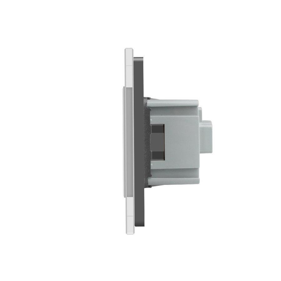 Livolo pelēks trīsvietīgs stikla kontaktligzdas rāmis 222 x 80mm GPF-3-64, 3 pelēkas kontaktligzdas WG-71EU-64
