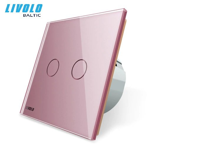 Livolo 2 gang, 1 way touch switch - Pink