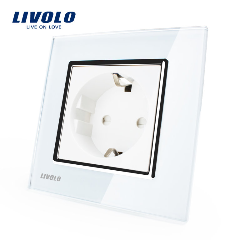 Livolo elektrības kontaktligzda balta 16A - 80mm ar baltu paneli