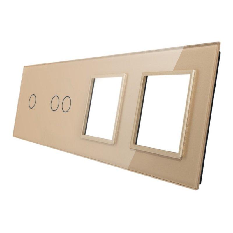 Livolo stikla panelis 1+2+ Divvietīgs kontaktligzdas rāmis 7012GG