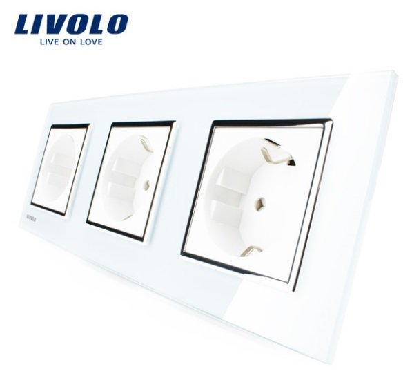 Livolo balts trīsvietīgs stikla kontaktligzdas rāmis 222 x 80mm GPF-3-61, 3 baltas kontaktligzdas WG-71EU-61