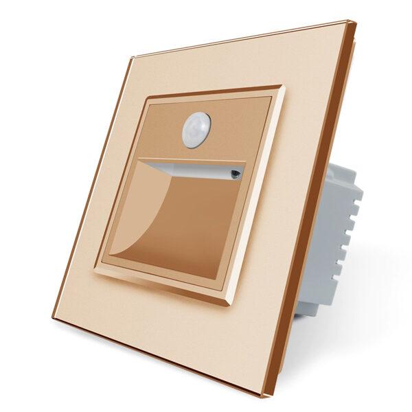 Livolo kāpņu / grīdas spuldze zelta krāsā, ar klātbūtnes sensoru ar zelta stikla paneli