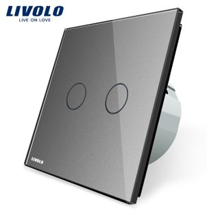 Livolo divpolu skārienjutīgais slēdzis - durvju zvana funkcija, savietojams ar FIBARO sistēmām, pelēks