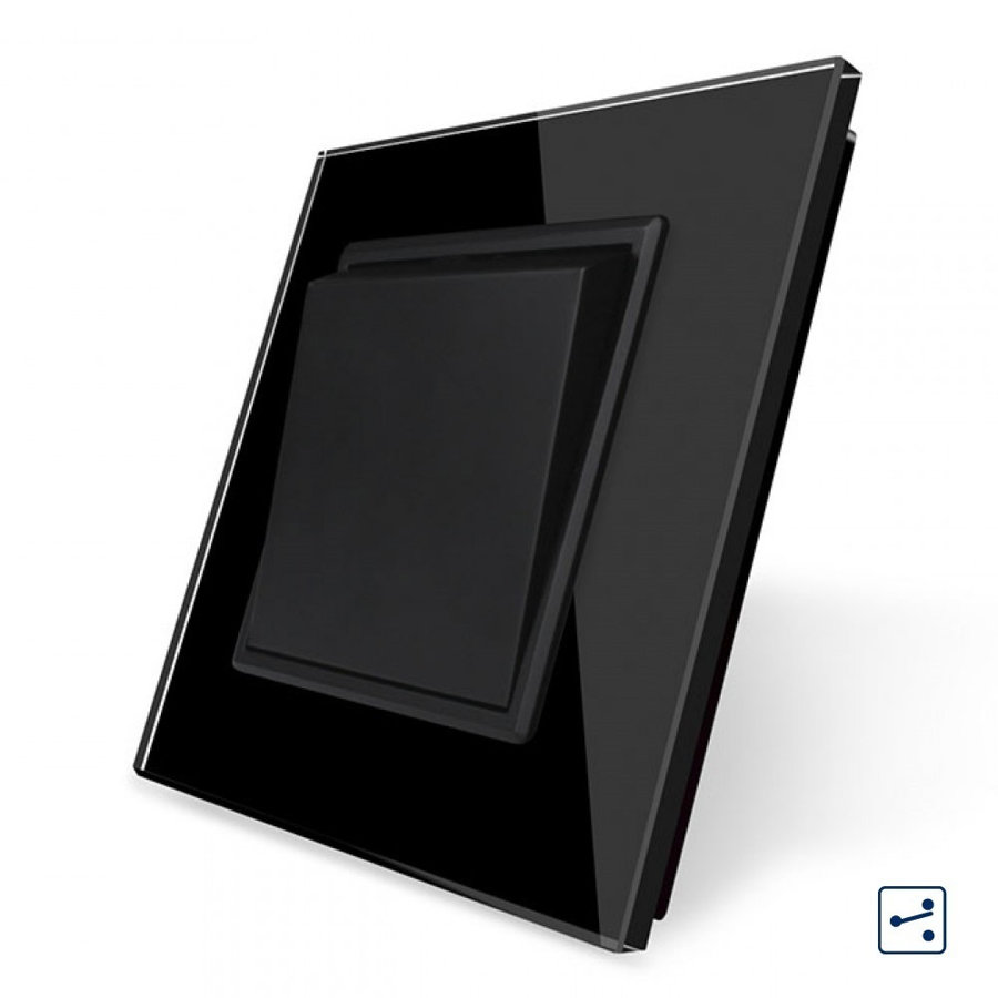 Livolo melns mehāniskais slēdzis pārslēdzis 45 MM, ar melnu stikla paneli