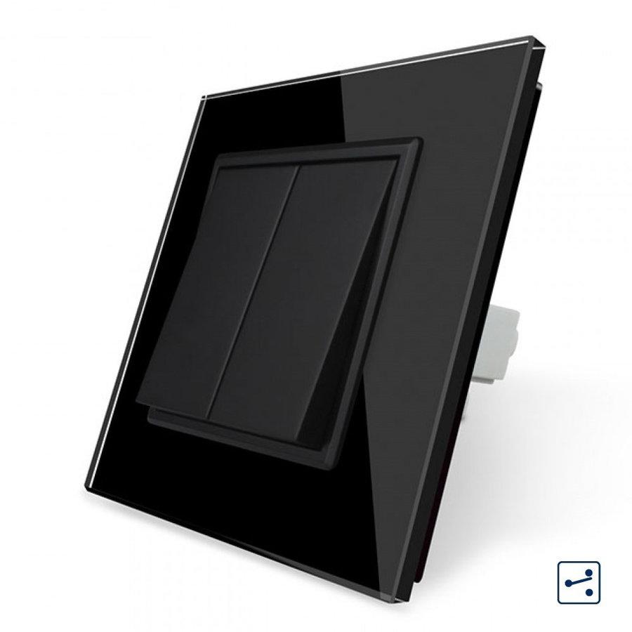 Livolo melns mehāniskais slēdzis pārslēdzis dubultais 22,5 MM, ar melnu stikla paneli