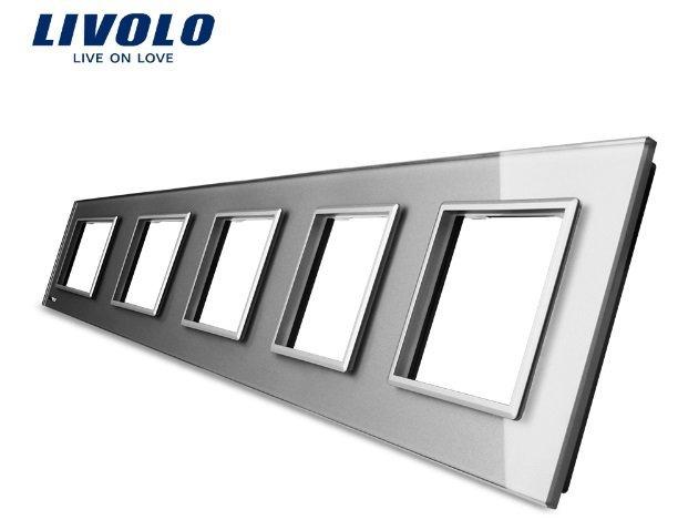 Livolo piecvietīgs stikla kontaktligzdas rāmis 364 x 80mm GPF-5