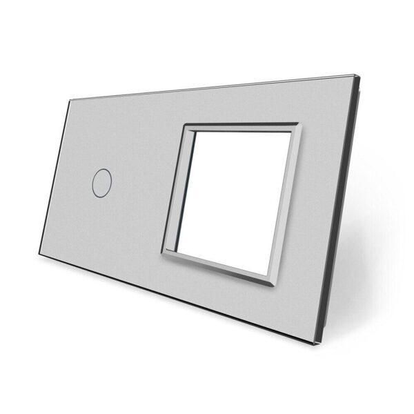 Livolo pelēks (SILVER) stikla panelis 1 + Kontaktligzdas rāmis 701G-64