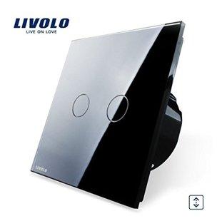 Livolo divpolu skārienjutīgais slēdzis - aizkaru vadībai, melns