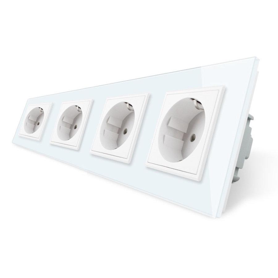 Розетка электрическая четырехпостовая - белая