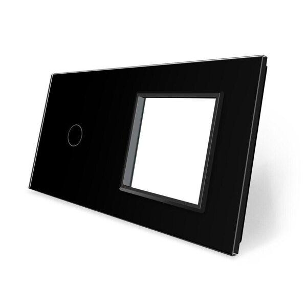 Livolo Melns stikla panelis 1 + Kontaktligzdas rāmis 701G-62