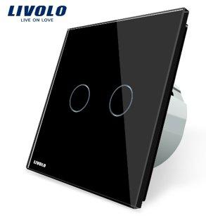 Livolo divpolu skārienjutīgais slēdzis - durvju zvana funkcija, savietojams ar FIBARO sistēmām, melns