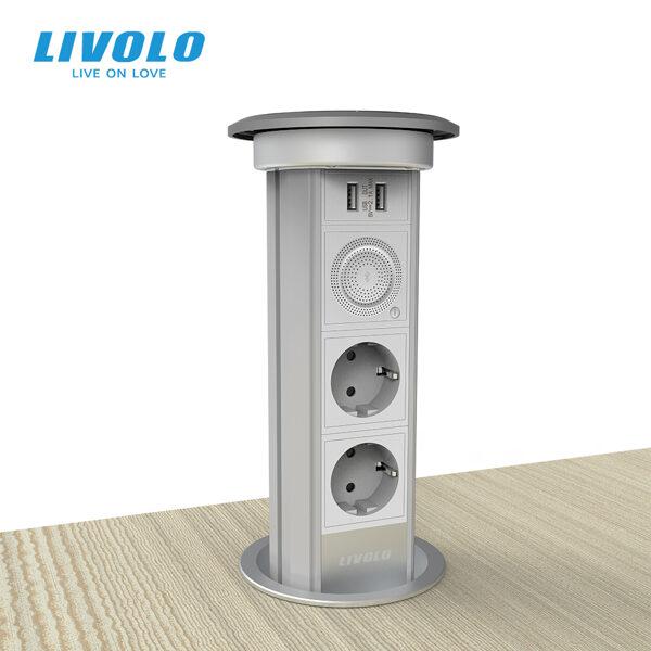 Livolo slēptā/paceļamā Livolo kontaktligzdas tornis ar bezvadu lādēšanu, BT skaļruni