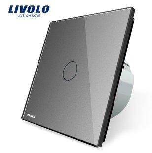 Livolo vienpola skārienjutīgais slēdzis - durvju zvana funkcija, savietojams ar FIBARO sistēmām, pelēks