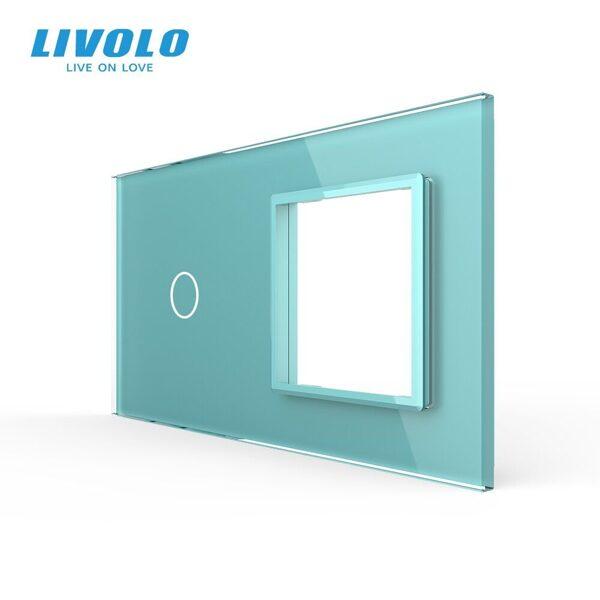 Livolo Zaļš stikla panelis 1 + Kontaktligzdas rāmis 701G-68