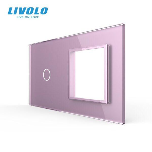Livolo Rozā (ROSE) stikla panelis 1 + Kontaktligzdas rāmis 701G-67