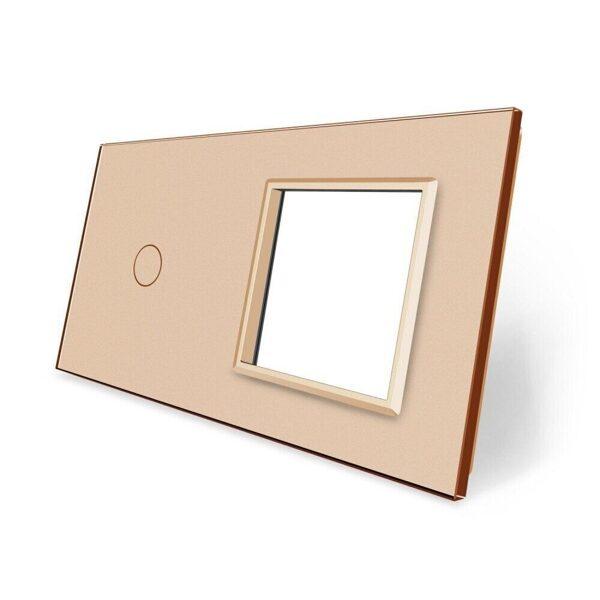 Livolo Dzeltens (GOLD) stikla panelis 1 + Kontaktligzdas rāmis 701G-63