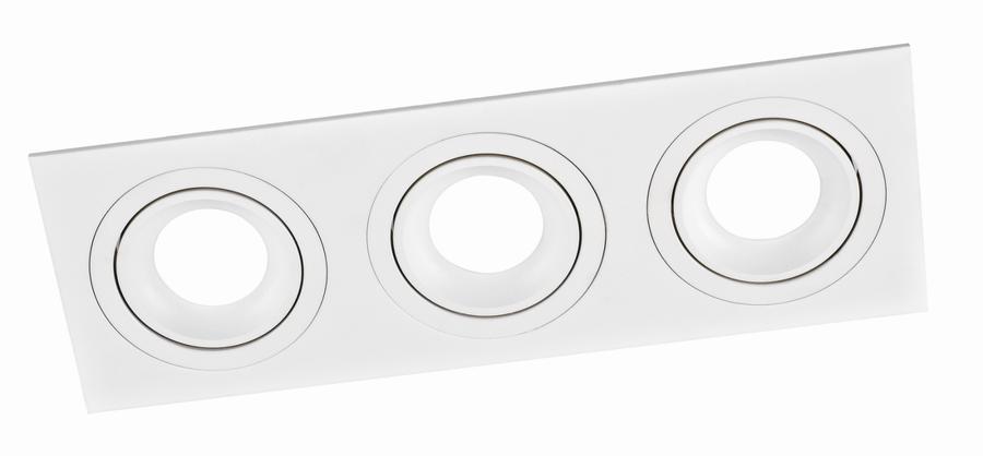 SQUARE 3 PL-SQW3-80006  recessed luminaire white 3x GU10 92x260, aluminium