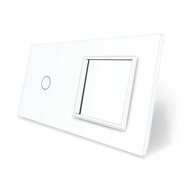Панель двойная: 1 выключатель + 1 розетка