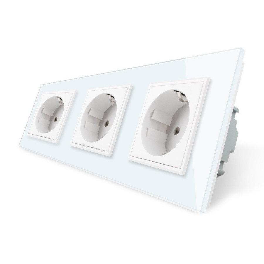 Розетка электрическая трехпостовая - белая