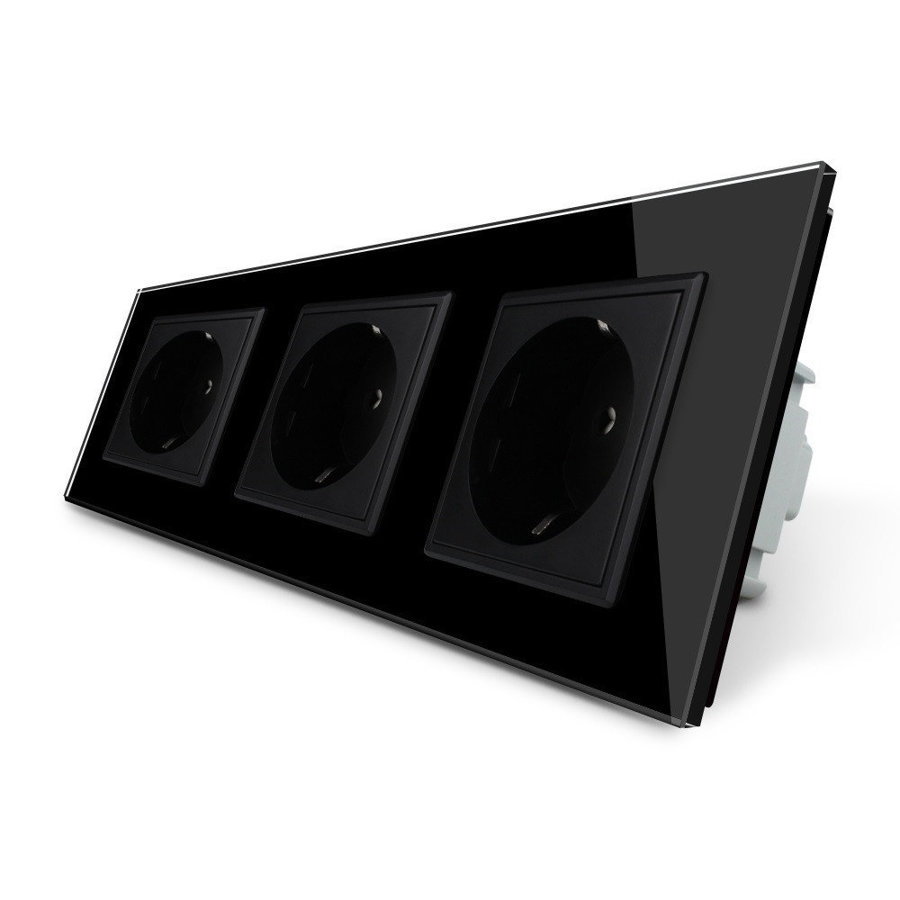 Розетка электрическая трехпостовая - черная