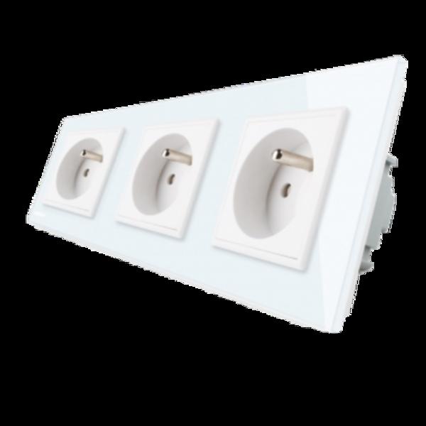 Livolo elektrības kontaktligzda balta 16A - 80mm -Franču standarts trīsvietīga 3WG-71FR-61/GPF-3-61