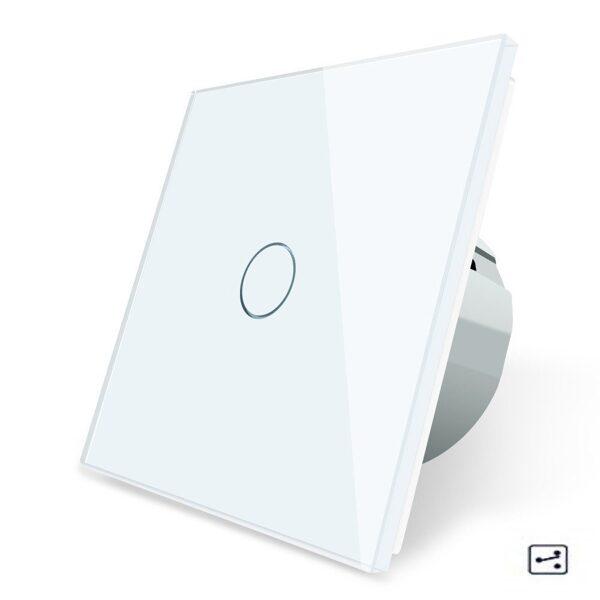 Сенсорный проходной выключатель Livolo однолинейный, 1 модуль - серый