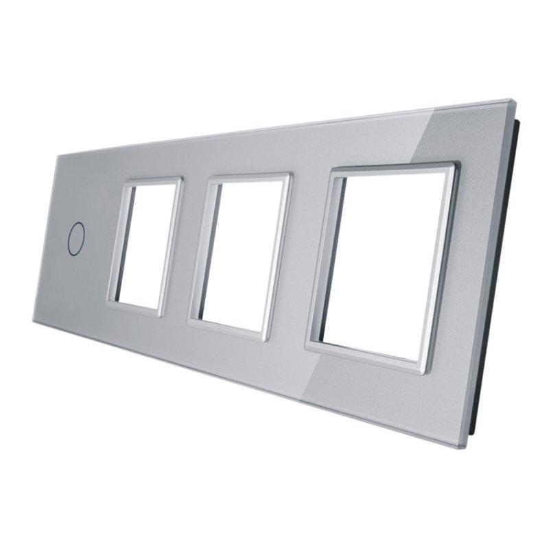 Livolo stikla panelis  1 + Trīsvietīgs kontaktligzdas rāmis 701GGG