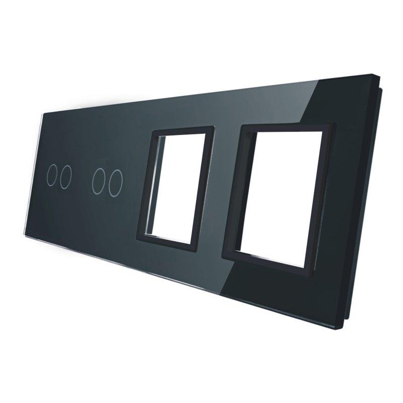 Livolo stikla panelis 2+2 + Divvietīgs kontaktligzdas rāmis 7022GG