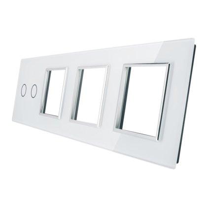 Livolo stikla panelis 2 + Trīsvietīgs kontaktligzdas rāmis 702GGG