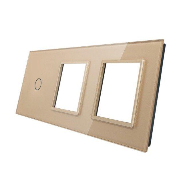Livolo stikla panelis 1 + dubults kontaktligzdas rāmis 701GG