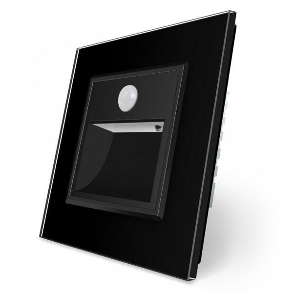 Livolo kāpņu / grīdas lampa melna, ar klātbūtnes sensoru ar melna stikla paneli
