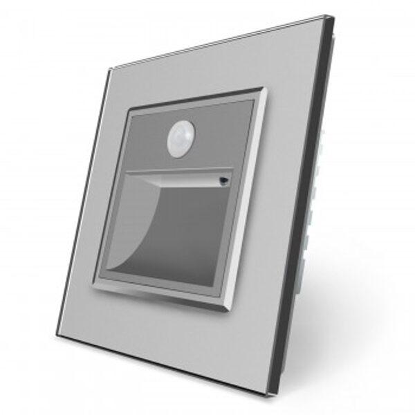 Livolo kāpņu / grīdas spuldze pelēka, ar klātbūtnes sensoru ar pelēku stikla paneli